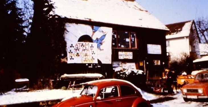 Pressehütte Mutlangen im Winter 1984