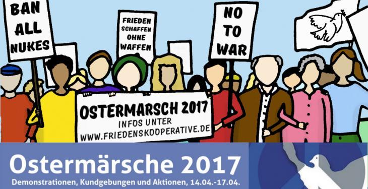 Grafik mit stilisierten Menschen, die Banner für Frieden tragen, Schrift Ostermärsche 2017