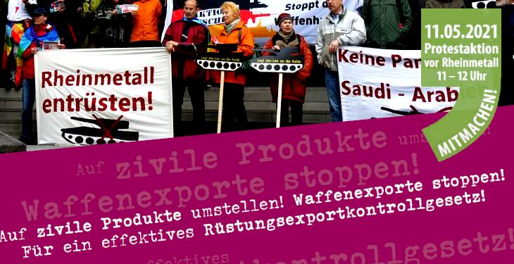 Protestaktion vor Rheinmetall am 11. Mai 2021