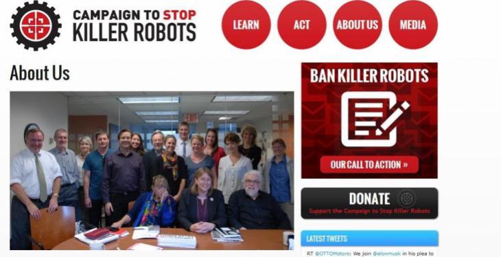 "Die internationale Campaign zo ""Stop Killer Robots"" wurde 2013 in London ins Leben gerufen."