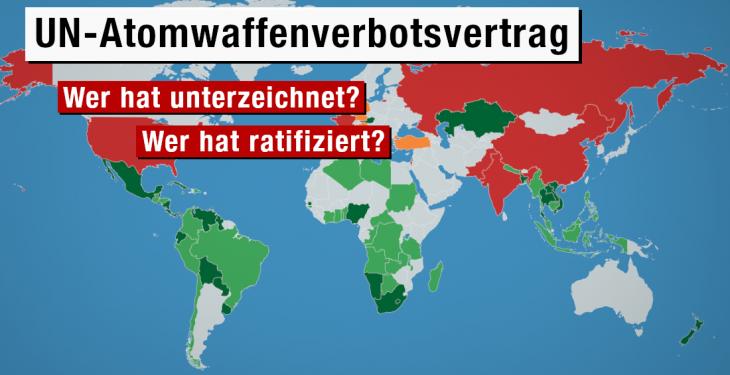Stand der Unterzeichnungen und Ratifizierungen des UN-Atomwaffenverbots