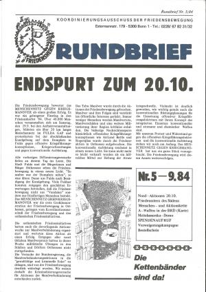 Cover Rundbrief 05/84