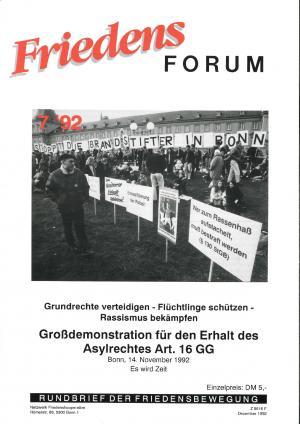 Cover FriedensForum 7/1992