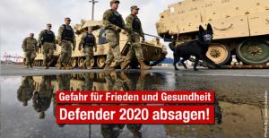 Jetzt unterzeichnen: Frieden, Klima und Gesundheit schützen, Defender 2020 absagen!