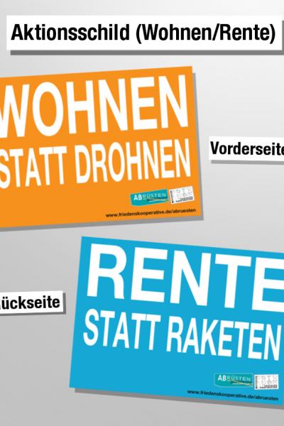 Aktionsschild (Wohnen/Rente)