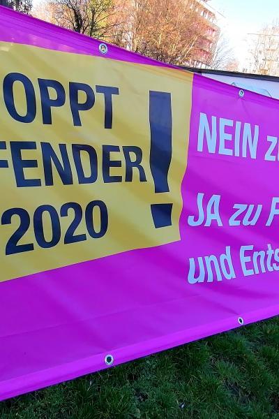 """Banner """"Stoppt Defender 2020!"""""""