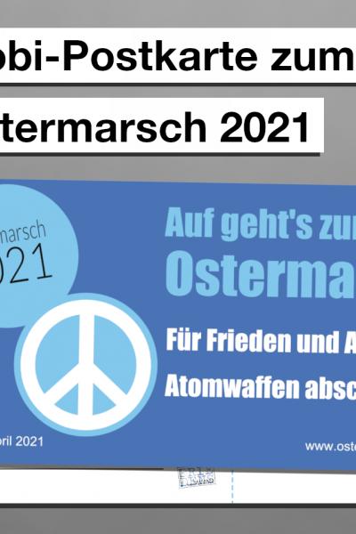 Mobi-Postkarte zum Ostermarsch (blau)