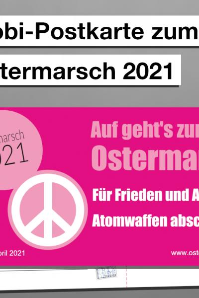Mobi-Postkarte zum Ostermarsch (rot)