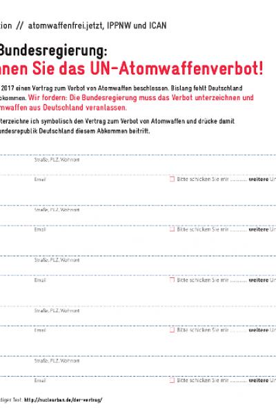 Unterschriftenliste für den Beitritt Deutschlands zum UN-Atomwaffenverbot